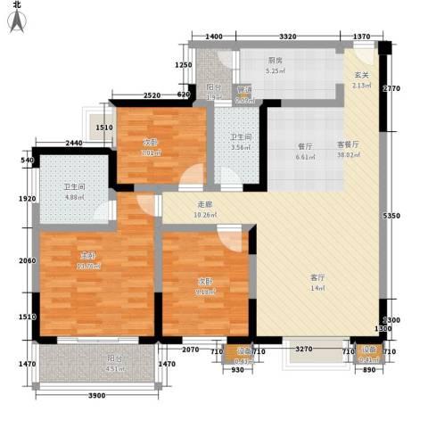 和谐家园3室1厅2卫0厨119.00㎡户型图
