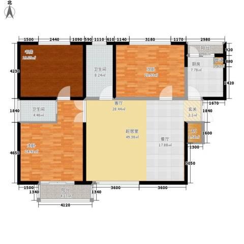 长江路九号3室0厅2卫1厨160.00㎡户型图
