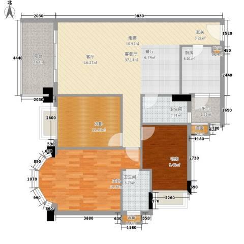 都市兰亭3室1厅2卫1厨113.00㎡户型图