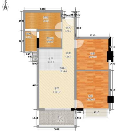 都市兰亭2室1厅1卫1厨78.00㎡户型图