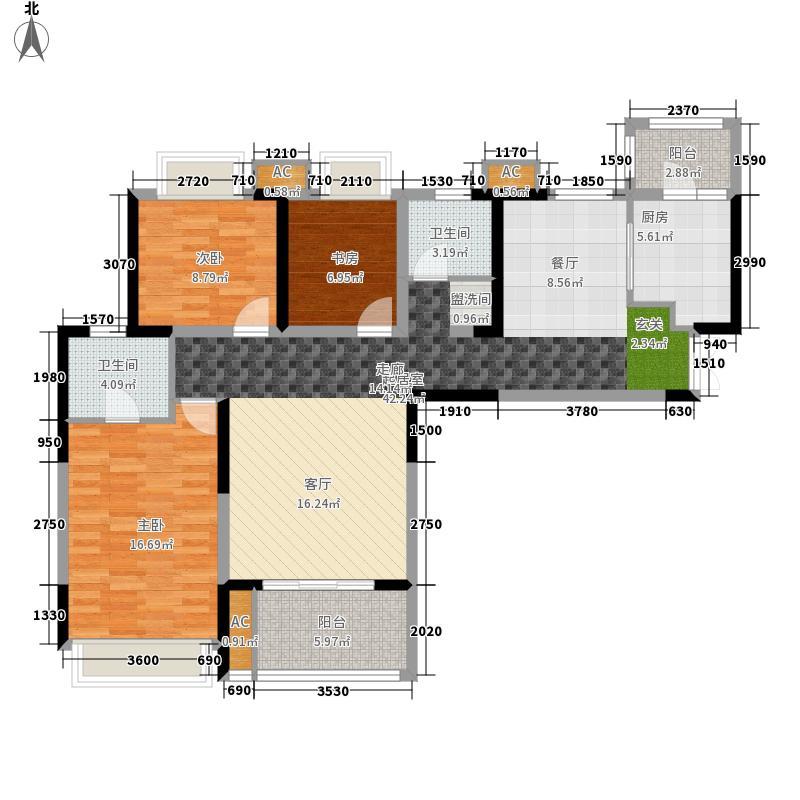 复地雍湖湾126.00㎡一期4号楼标准面积12600m户型