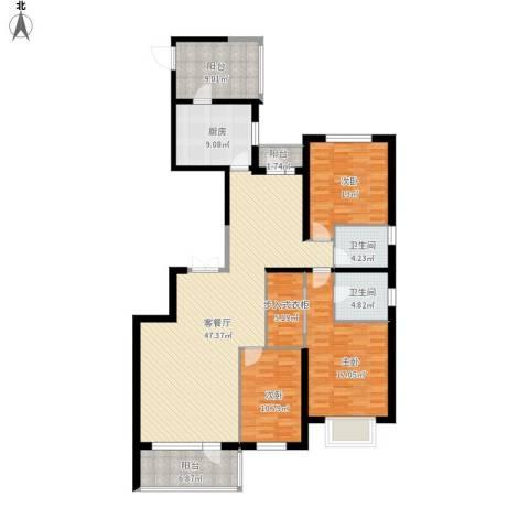 奕聪花园3室1厅2卫1厨183.00㎡户型图