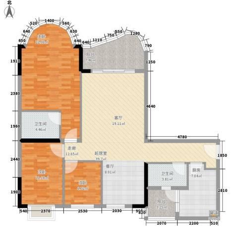 颐景华苑3室0厅2卫1厨119.00㎡户型图