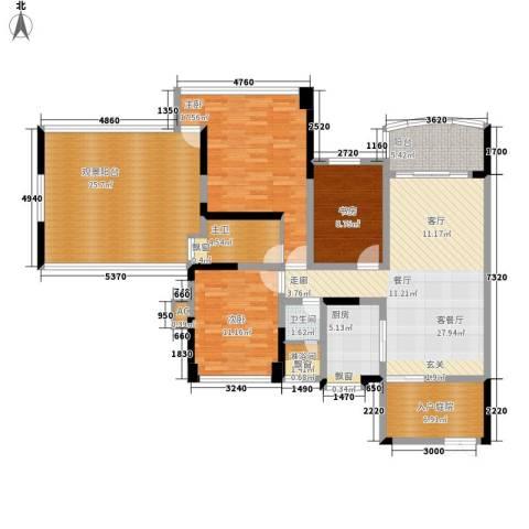 广州雅居乐花园十年小雅3室1厅1卫1厨134.00㎡户型图