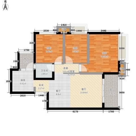 金辉悦府3室0厅1卫0厨88.00㎡户型图