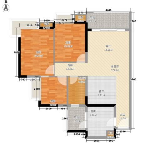 金碧领秀国际3室1厅1卫1厨108.00㎡户型图