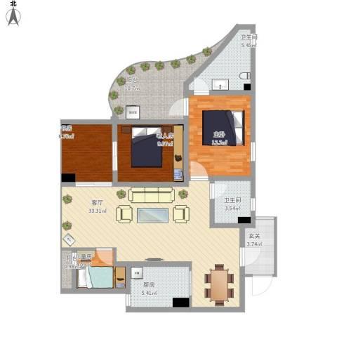 齐盛艺境4室1厅2卫1厨138.00㎡户型图