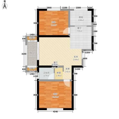 燕都紫阁2室0厅1卫1厨97.00㎡户型图