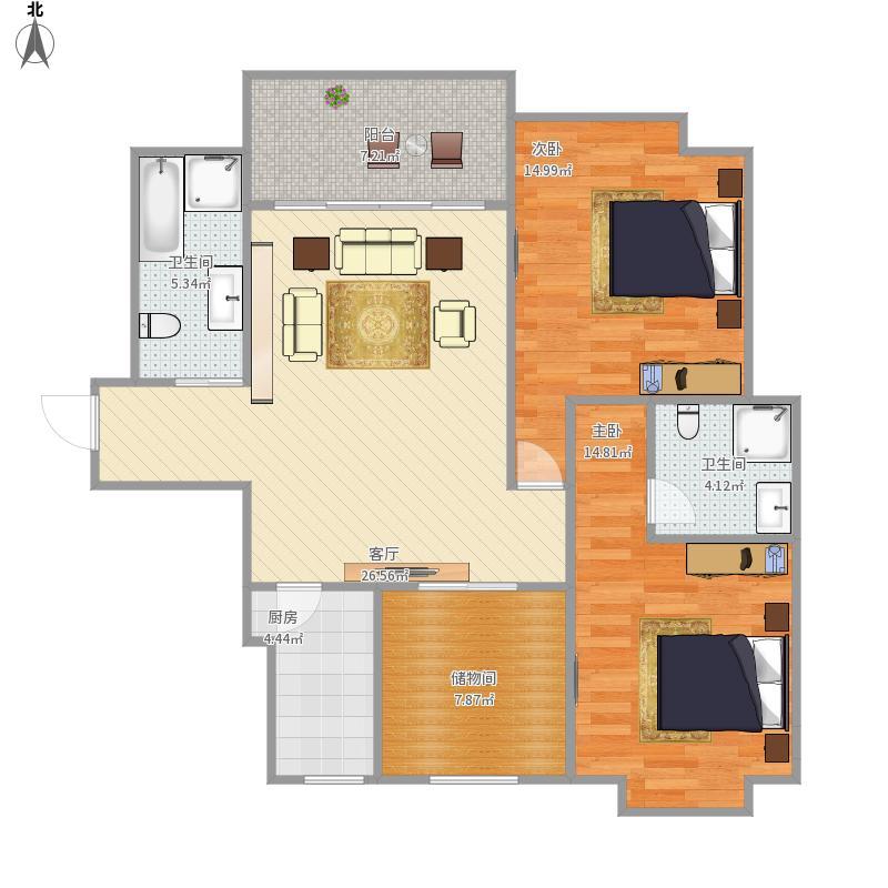 金色蓝庭90方A1户型两室两厅
