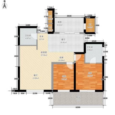 长江路九号2室0厅2卫1厨100.00㎡户型图