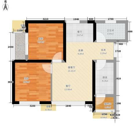 卧龙巷小区2室1厅1卫1厨75.00㎡户型图