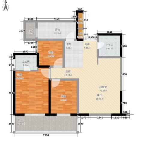 长江路九号3室0厅2卫1厨130.00㎡户型图