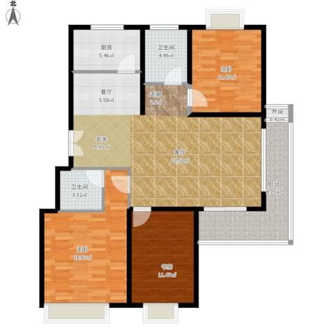 碧水云天家园3室1厅2卫1厨140.00㎡户型图