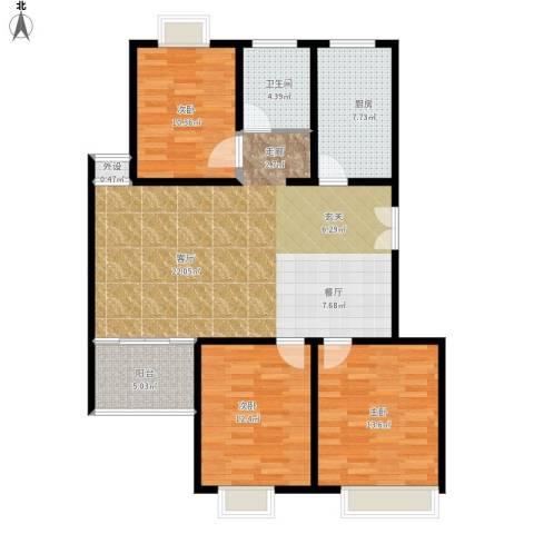 碧水云天家园3室1厅1卫1厨129.00㎡户型图