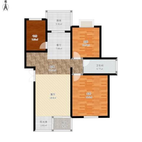 碧水云天家园3室1厅1卫1厨127.00㎡户型图