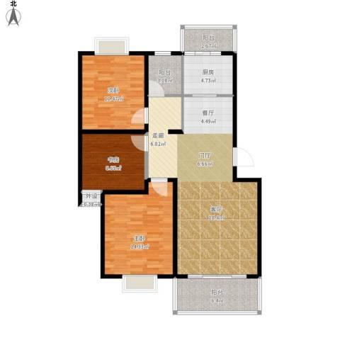 碧水云天家园3室1厅0卫1厨123.00㎡户型图