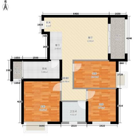 水半湾3室1厅1卫1厨109.00㎡户型图