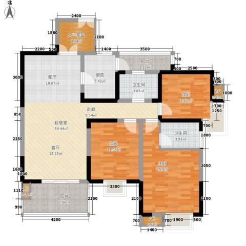 红树湾3室0厅2卫1厨121.00㎡户型图