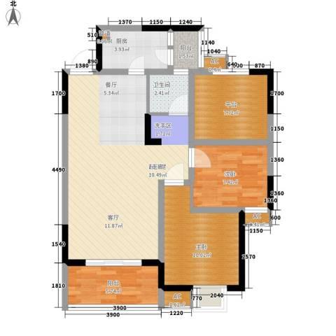 美年广场美岸2室0厅1卫1厨88.00㎡户型图