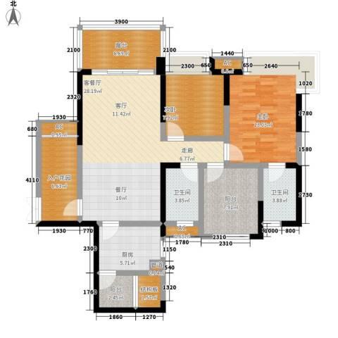 保利星座2室1厅2卫1厨101.00㎡户型图