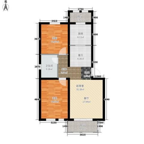 东方国际城2室0厅1卫1厨86.00㎡户型图