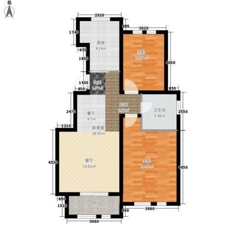 东方国际城2室0厅1卫1厨85.00㎡户型图