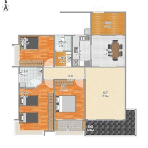 华宁瑞城3室2厅2卫1厨144.00㎡户型图