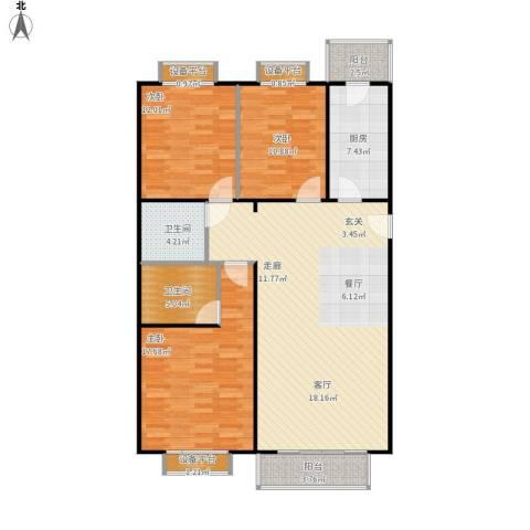 宣颐家园3室1厅2卫1厨143.00㎡户型图