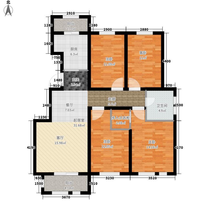东方国际城115.95㎡11-D户型4室2厅1卫