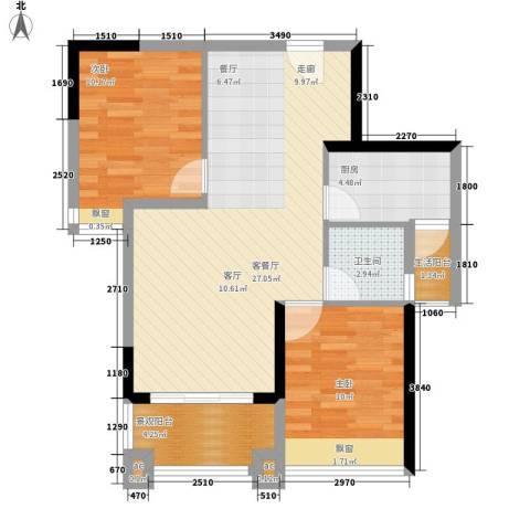 新都广场2室1厅1卫1厨78.00㎡户型图