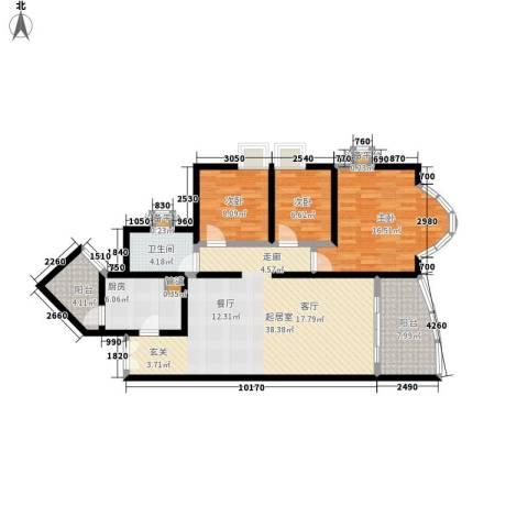 祈福新村晓峰园3室0厅1卫1厨105.00㎡户型图