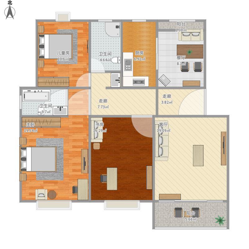 孟电滨河新城L13124平三室两厅