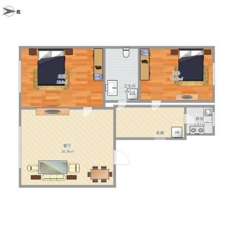 上台花园2室1厅1卫1厨78.00㎡户型图