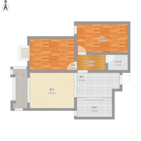 檀香湾2室2厅1卫1厨98.00㎡户型图