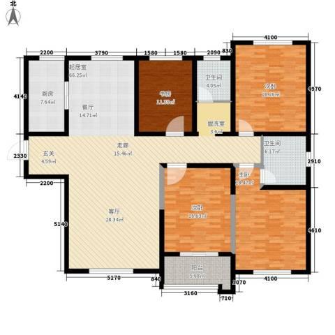 新世纪花园4室0厅2卫1厨217.00㎡户型图
