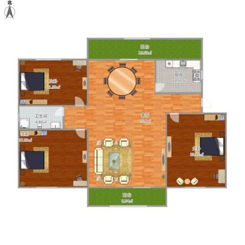 景山小区3室1厅1卫1厨206.77㎡户型图