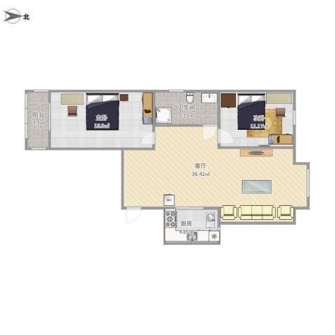 城市西景2室1厅1卫1厨103.00㎡户型图