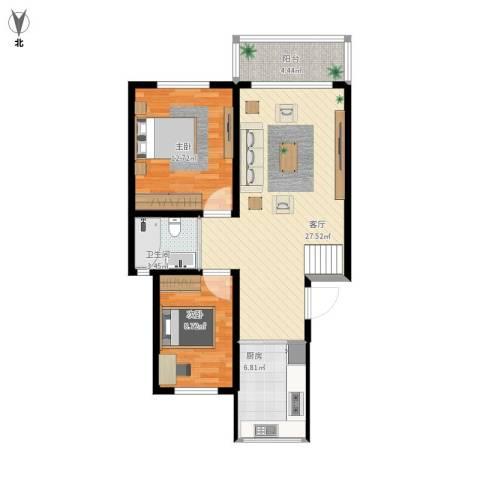 爱法花园2室1厅1卫1厨89.00㎡户型图
