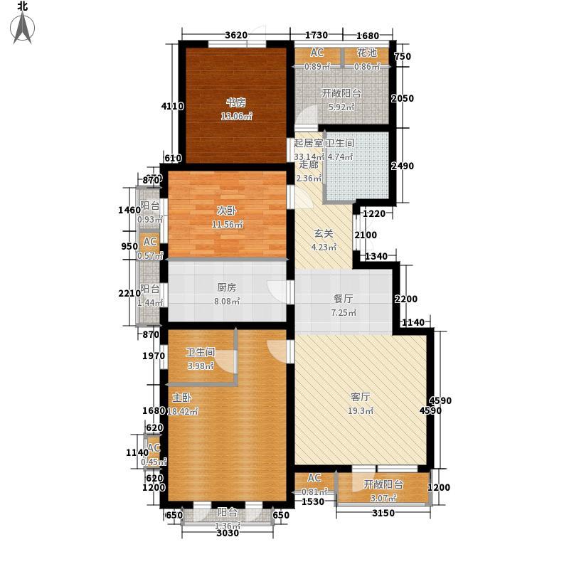 华贸公园郡134.00㎡洋房H1户型3室2厅