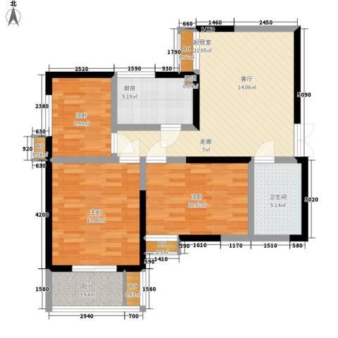 紫云溪3室0厅1卫1厨92.00㎡户型图