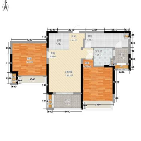 保利星海屿2室0厅1卫1厨92.00㎡户型图