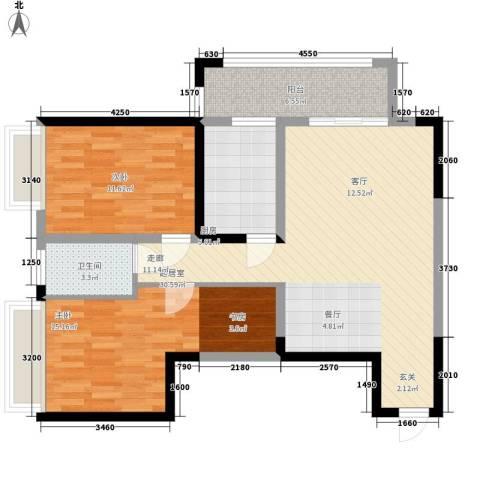 长安大街三号2室0厅1卫1厨97.00㎡户型图