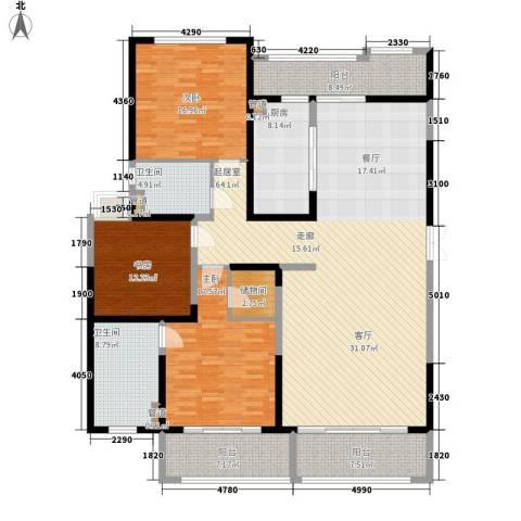 保利星海屿3室0厅2卫1厨180.00㎡户型图