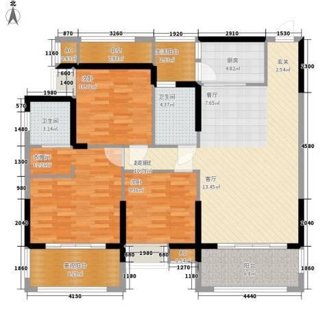 长安大街三号3室0厅2卫1厨118.00㎡户型图