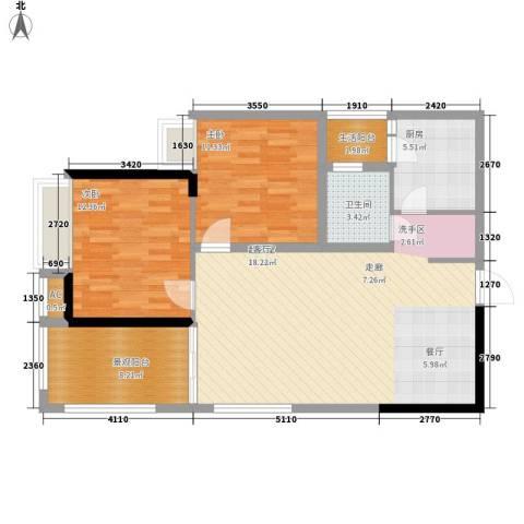 长安大街三号2室0厅1卫1厨88.00㎡户型图