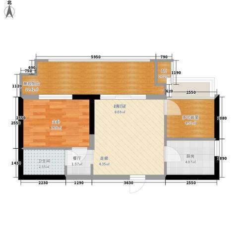 长安大街三号1室0厅1卫1厨52.00㎡户型图