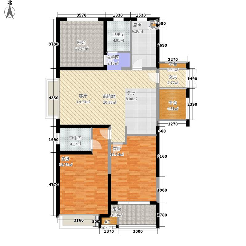 水清木华Ⅱ期128.00㎡A户型3室2厅