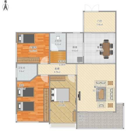 华宁瑞城3室2厅2卫1厨148.00㎡户型图