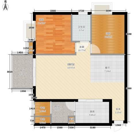 美林海岸花园2室0厅1卫1厨86.00㎡户型图