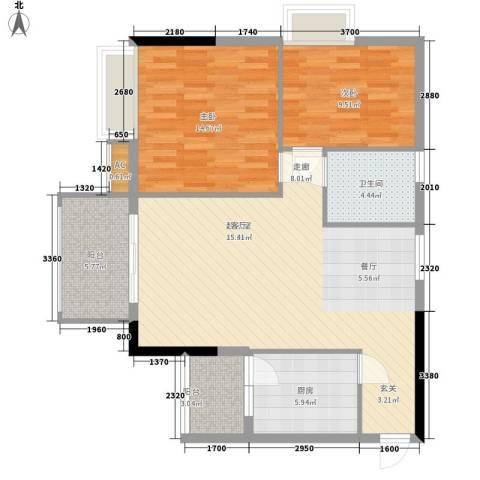 美林海岸花园2室0厅1卫1厨85.00㎡户型图